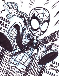 Spider-Man sketch by Chris Giarrusso