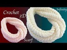 Bufandas a Crochet infinita circular y Chalina tejida en Punto 3D con Gancho tejido tallermanualperu - YouTube