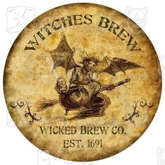 Witches Brew bottle label. Cool