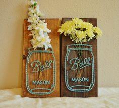 Mason Jar Flower String Art by PurplePalletDesigns on Etsy
