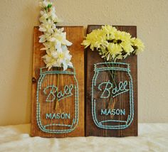 Mason Jar Flower String Art by PurplePalletDesigns on Etsy