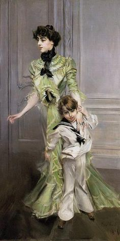 """Portrait of Mrs Georges Hugo and her son, jean"" by Giovanni Boldini, 1898"