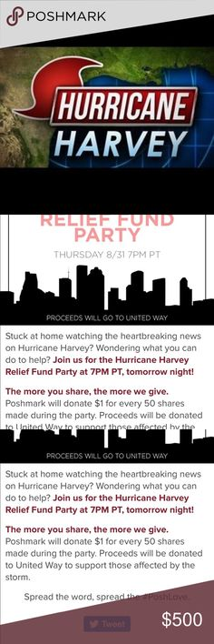 Let's Show Texas Some Love Let's Show Texas Some Love ❤️ ❤️❤️❤️ Read the captions above and join your fellow Posher's as we share our hearts out to support Hurricane Harvey Relief Efforts!  Join the Posh Party at 7pm and share your closet!  If you can't then comment below your closet name and I'll share for you. Bags Satchels