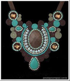 maxi colar cs marrom turquesa statment necklace
