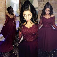 2018 Burgundy Lace Long Sleeve Formal Evening Dresses V Neck Crystal High Low Arabic Evening Gowns Sleeves Two Piece Prom Dress Party Gowns M2281