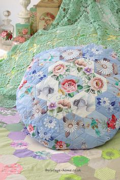 Vintage Home Shop - Pretty Embroidered Patchwork Cushion: www.vintage-home.co.uk