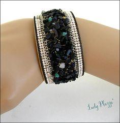 bracelet women black stone bracelet manchette noire pierre Bracelet Cuir, Stone Bracelet, Bracelets, Diamond, Etsy, Black, Jewelry, Women, Fashion