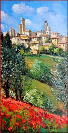 Quadri Painting - Tuscan Village by Bruno Chirici