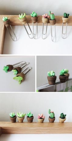 Cactus plant miniature paper clips planner accessories succulents and cacti cute bookmarks Planner cacti wood glow in the dark bookmark Kaktus Lesezeichen und Büroklammern aus Fimo oder Modelliermasse DIY Diy Fimo, Crea Fimo, Cute Polymer Clay, Cute Clay, Fimo Clay, Polymer Clay Projects, Polymer Clay Charms, Polymer Clay Creations, Polymer Clay Jewelry