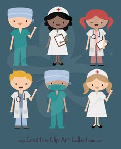 A cute Doctor, Nurse and Surgeon in Scrubs clipart set from Creative Clip Art Collection. Perfect for all you DIY Handmade Craft and Scrapbooking projects.