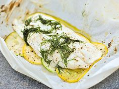 Grilled fish with zucchini, yellow squash and dill. (This doesn't have to be grilled - you can bake it, too.)