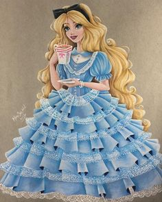 Fantastic Disney Princess Drawings by Max Stephen - Alice in Wonderland
