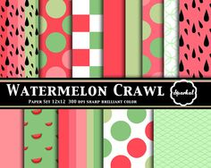 Watermelon Paper Preppy Summer Digital by SparkalDigitalDesign, $5.00