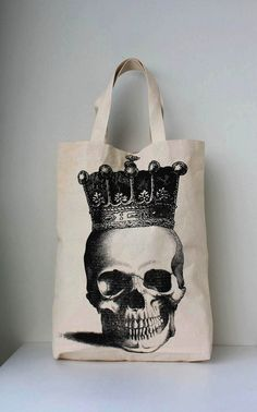Big size / Burlap Skull Crown Royal Canvas tote by Tshirt99 - This bag will be perfect for my grocery !!!
