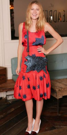Dree Hemingway in the red and blue outfit of my dreams (house of holland)
