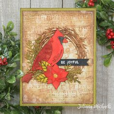 Be Joyful Christmas Card by Juliana Michaels featuring Tim Holtz Feathered Cardinal Thinlit for Simon Says Stamp DieCember