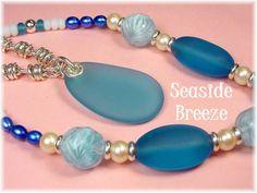 Seaside Breeze - Sea Glass Sterling Silver Pendant Vintage Art Glass, Sea Glass Necklace OOAK Jewelry
