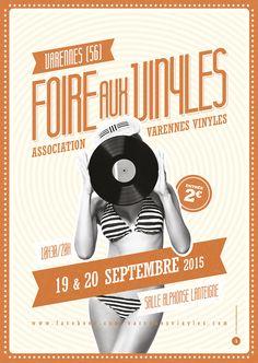 Affiche Brocante Foire aux vinyls - Le Moulin à Puces
