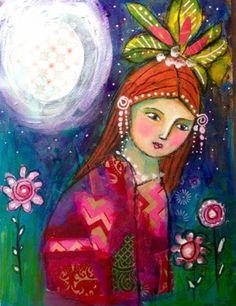 #art #whimsical #portrait #fantasy #painting Mixed-Media-Whimsical-Painting-Portrait-Flowers-Garden-18-x-24cm-Original-Art