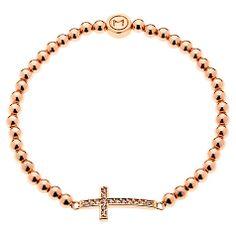 Buy Melissa Odabash Rose Gold Plated Crystal Cross Bracelet Online at johnlewis.com...x