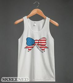 america fourth of july bow white tank top-JH - glamfoxx.com - Skreened T-shirts, Organic Shirts, Hoodies, Kids Tees, Baby One-Pieces and Tot...