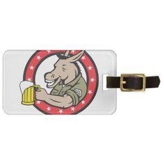 Donkey Beer Drinker Circle Retro Luggage Tag - horse animal horses riding freedom