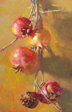 """Kat Ring,""""Signs of Winter"""", oil on panel, cm Pomegranate Art, Fruit Painting, Painting Still Life, Wall Patterns, Crochet Flowers, Art Lessons, Art Drawings, Art Projects, Pastel Paintings"""