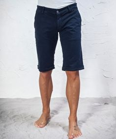 #45parallelo: blue #bermudas made in #stretch fabric, dyed for a #worn effect, 96% Cotton  and 4% Elastane