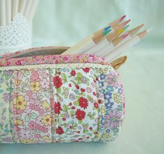 Made with my Round Pencil Case pattern and Japanese Liberty-inspired fabrics - Pretty By Hand