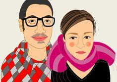 Custom Couple Portraits. Bespoke quirky portrait. Custom illustration. Custom Portraits. Digital file or stretched canvas