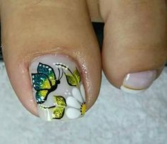 Cute Toe Nails, Cute Toes, Toe Nail Art, Acrylic Nails, Manicure, French Pedicure, Flower Nail Designs, Gorgeous Feet, Flower Nails