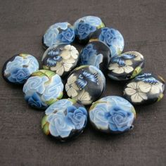 Winter blue polymer clay beads