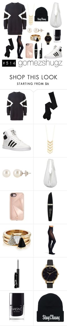 """blue, black, gold, white,"" by gomezshugz ❤ liked on Polyvore featuring Neil Barrett, adidas, Charlotte Russe, Henri Bendel, Rebecca Minkoff, Max Factor, Brixton, OROBLU, Olivia Burton and Nails Inc."