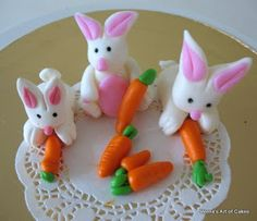 Veena's Art of Cakes: How to make Gum Paste, Fondant, Marzipan Bunny / Easter Bunny.