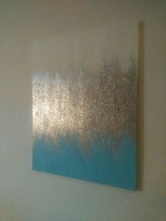 Handmade Abstract Glitter Painting Custom Modern Chic Home Decor Light Blue/Aqua - Leinwand - Decoration Clues Glitter Paint, Metallic Paint, Silver Glitter, Diy Canvas, Canvas Art, Glitter Kunst, Home Decor Lights, Home Decor Pictures, Painting Inspiration