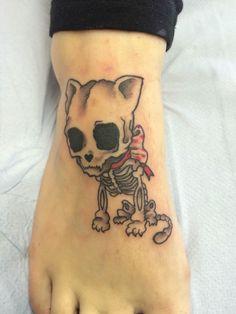 Skeleton cat tattoo by Travis Allen Www.twistedtattoo.co.uk