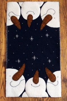 Oh Snowy Night by Cathy Wagner. This is a paper pattern that is full size for cutting out your own wool or felt. It has full instructions for making it and a list of what you need on the back of the pattern. It also has a color picture on the front to help you pick your colors or you can be as