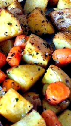 Spiced - Oven Baked Potatoes & Baby Carrots ~ This is a wonderful easy and very flexible recipe where you can add to or omit parts to suit your family's taste.