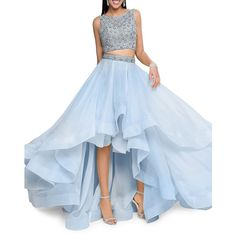 Glamour by Terani Couture Women's Two-Piece Embellished Prom Dress Set ($396) ❤ liked on Polyvore featuring dresses, powder blue, two piece long dresses, 2 piece prom dresses, asymmetrical dresses, sleeveless dress and asymmetrical prom dresses