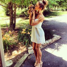 dress & wedges.