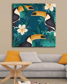 Tableau exotique de toucans With this jungle pop painting, create a colorful tropical decoration! Art Tropical, Tropical Paintings, Acrylic Painting Canvas, Canvas Art, Hippie Art, Painting Inspiration, New Art, Watercolor Art, Illustrator
