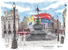Circus Illustration, London Illustration, Watercolor Sketchbook, Watercolor Illustration, Watercolour, London Life, London Art, London Drawing, Piccadilly Circus