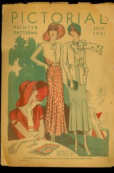 Pictorial Printed Patterns, July 1931 featurint 5711, 5718 and 5719