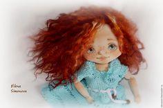 Купить Маргаритка - голубой, текстильная кукла, коллекционная кукла, авторская кукла, интерьерная игрушка ☆