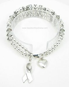 Charms on Three Strand Brain Cancer Awareness Bracelet mailed to England.
