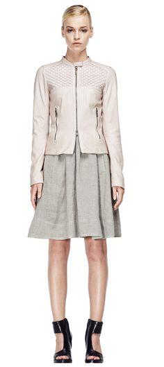 V S P Spring/Summer 2015 #vsp #leather #design #spring #summer #fashion #jacket Shearling Coat, Dresses For Work, Formal Dresses, Ss 15, Spring Summer 2015, Sophisticated Style, Midi Skirt, Leather Design, Skirts