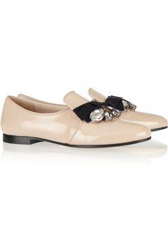 Miu Miu Embellished Patent-Leather Loafers