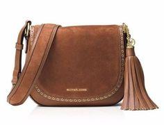 NWT $348 MICHAEL KORS Leather Brooklyn Grommet Medium Saddle Bag Luggage Brown #MICHAELMichaelKors #SaddleShoulderCrossbodyMessengerBag