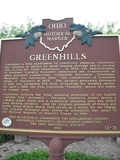 Historic marker, Greenhils, Ohio
