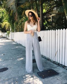 Key West | Thrifts and Threads. White crochet crop top+grey striped wide pants+straw sun hat+white, brown and black shoulder bag. Summer outfit 2016